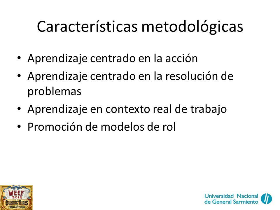 Características metodológicas Aprendizaje centrado en la acción Aprendizaje centrado en la resolución de problemas Aprendizaje en contexto real de trabajo Promoción de modelos de rol