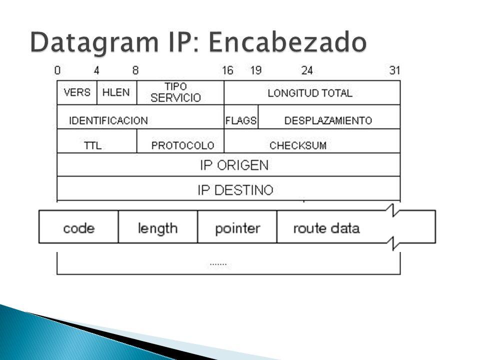 CODIGO: SSR( Strict Source Routing ) : Código 137 LSR( Loose Source Routing ): Código 131 RR(Record Route): Código 7 LENGTH: Tamaño del campo opciones en bytes POINTER: Puntero indicando la dirección siguiente ROUTE DATA: Direcciones IP del camino