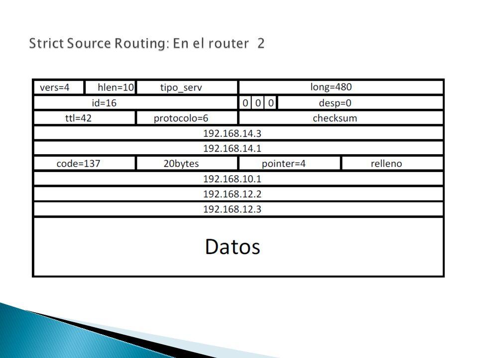 Se envían Mensajes del host C al host D con Strict Routing definiendo a R2 (192.168.14.1), R1(192.168.10.1) y R4 (192.168.12.2) Origen192.168.14.3 Destino192.168.14.1 Opciones192.168.10.1 192.168.12.2 192.168.12.3 Puntero0 Origen192.168.14.3 Destino192.168.10.1 Opciones192.168.14.1 192.168.12.2 192.168.12.3 4 Origen192.168.14.3 Destino192.168.12.2 Opciones192.168.14.1 192.168.10.1 192.168.12.3 Puntero8 Origen192.168.14.3 Destino192.168.12.3 Opciones192.168.14.1 192.168.10.1 192.168.12.2 Puntero12