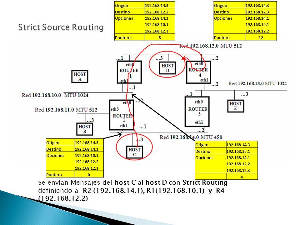 Loose Source Routing : Esta opción permite que existan router entre los indicados como destino.