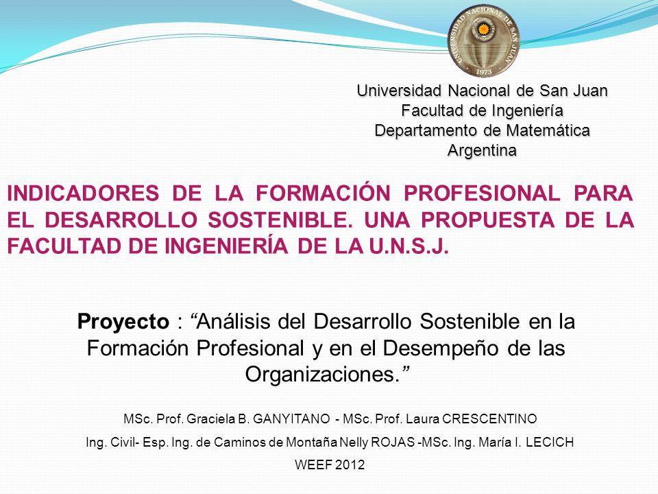 INDICADORES DE LA FORMACIÓN PROFESIONAL PARA EL DESARROLLO SOSTENIBLE. UNA PROPUESTA DE LA FACULTAD DE INGENIERÍA DE LA U.N.S.J. MSc. Prof. Graciela B