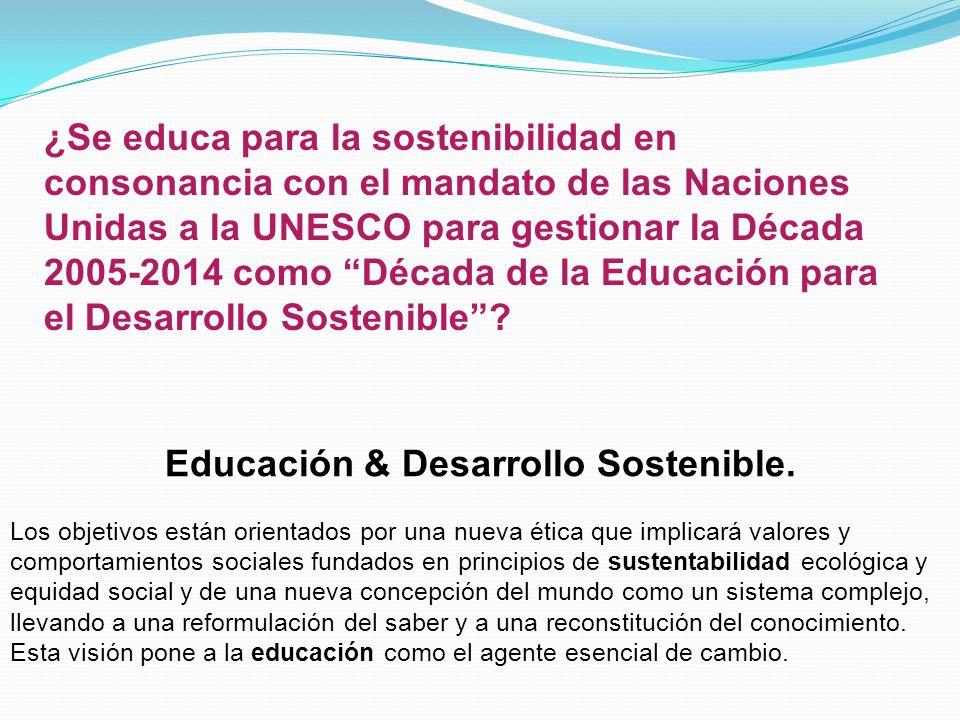 ¿Se educa para la sostenibilidad en consonancia con el mandato de las Naciones Unidas a la UNESCO para gestionar la Década 2005-2014 como Década de la