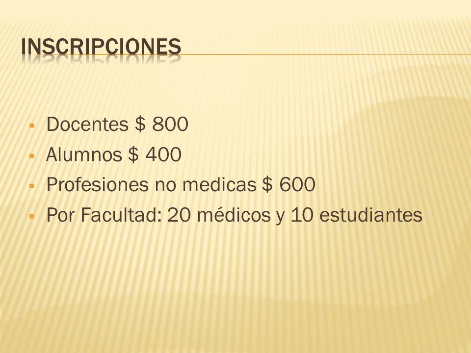 Docentes $ 800 Alumnos $ 400 Profesiones no medicas $ 600 Por Facultad: 20 médicos y 10 estudiantes