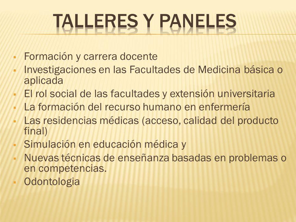 Formación y carrera docente Investigaciones en las Facultades de Medicina básica o aplicada El rol social de las facultades y extensión universitaria