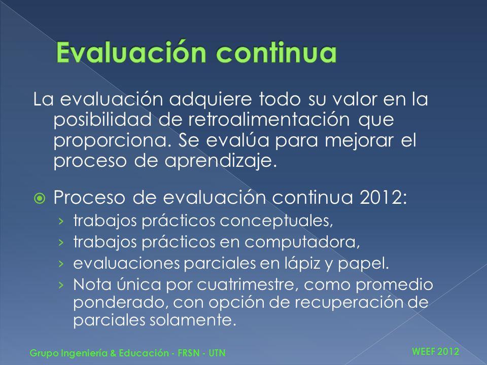 La evaluación adquiere todo su valor en la posibilidad de retroalimentación que proporciona. Se evalúa para mejorar el proceso de aprendizaje. Proceso
