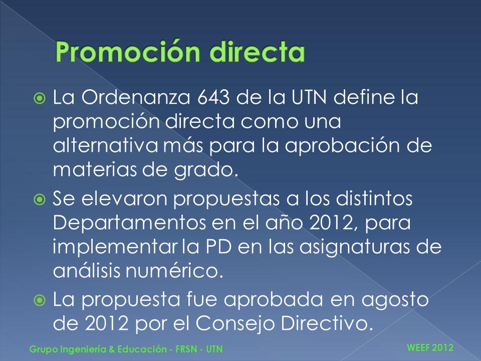 La Ordenanza 643 de la UTN define la promoción directa como una alternativa más para la aprobación de materias de grado. Se elevaron propuestas a los