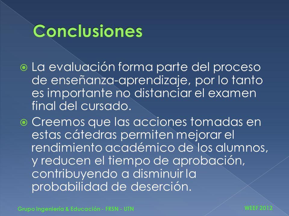 La evaluación forma parte del proceso de enseñanza-aprendizaje, por lo tanto es importante no distanciar el examen final del cursado. Creemos que las