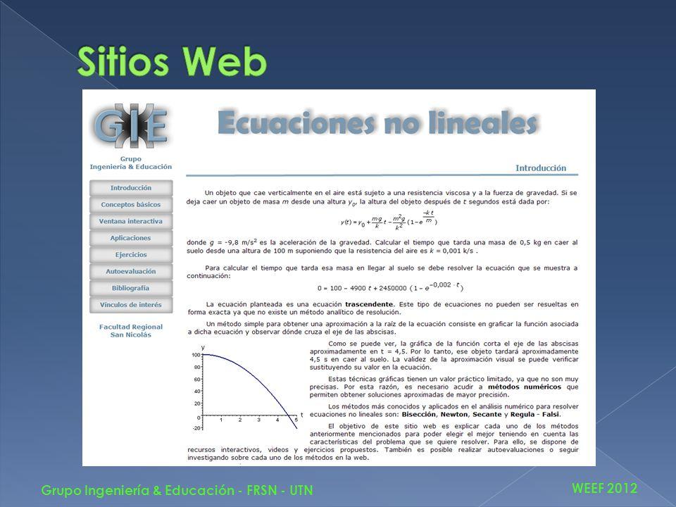 WEEF 2012 Grupo Ingeniería & Educación - FRSN - UTN