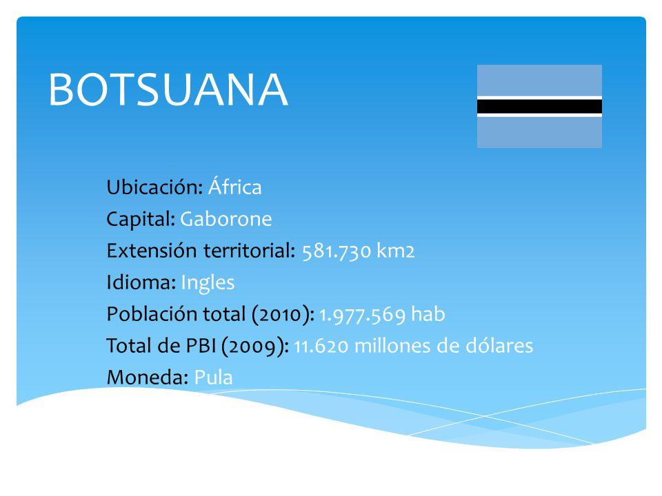 BOTSUANA Ubicación: África Capital: Gaborone Extensión territorial: 581.730 km2 Idioma: Ingles Población total (2010): 1.977.569 hab Total de PBI (2009): 11.620 millones de dólares Moneda: Pula