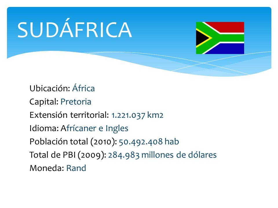 Ubicación: África Capital: Pretoria Extensión territorial: 1.221.037 km2 Idioma: Afrícaner e Ingles Población total (2010): 50.492.408 hab Total de PBI (2009): 284.983 millones de dólares Moneda: Rand SUDÁFRICA