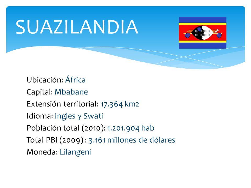 Ubicación: África Capital: Mbabane Extensión territorial: 17.364 km2 Idioma: Ingles y Swati Población total (2010): 1.201.904 hab Total PBI (2009) : 3.161 millones de dólares Moneda: Lilangeni SUAZILANDIA