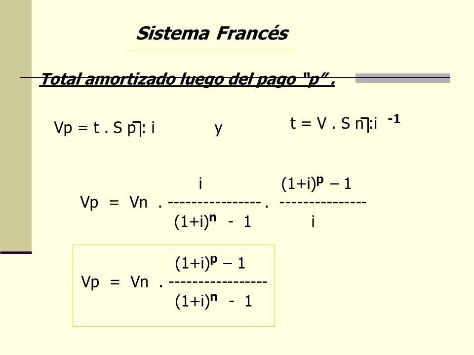 Sistema Francés Total amortizado luego del pago p. Vp = t. S p : i y t = V. S n :i -1 i (1+i) p – 1 Vp = Vn. ----------------. --------------- (1+i) n