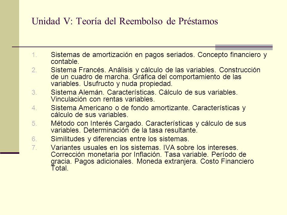 Unidad V: Teoría del Reembolso de Préstamos 1. Sistemas de amortización en pagos seriados. Concepto financiero y contable. 2. Sistema Francés. Análisi