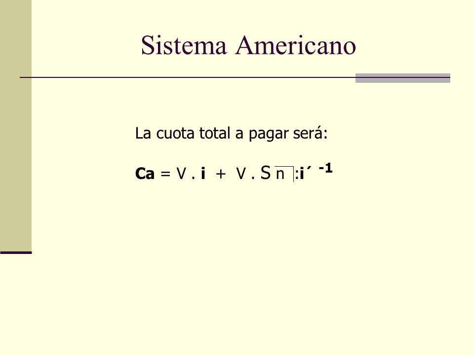 La cuota total a pagar será: Ca = V. i + V. S n :i´ -1