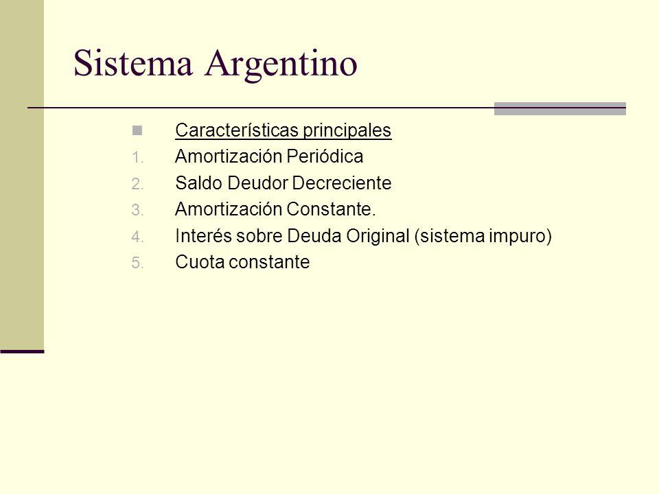 Sistema Argentino Características principales 1. Amortización Periódica 2. Saldo Deudor Decreciente 3. Amortización Constante. 4. Interés sobre Deuda