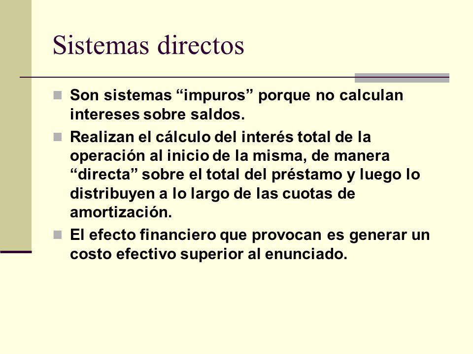 Sistemas directos Son sistemas impuros porque no calculan intereses sobre saldos. Realizan el cálculo del interés total de la operación al inicio de l