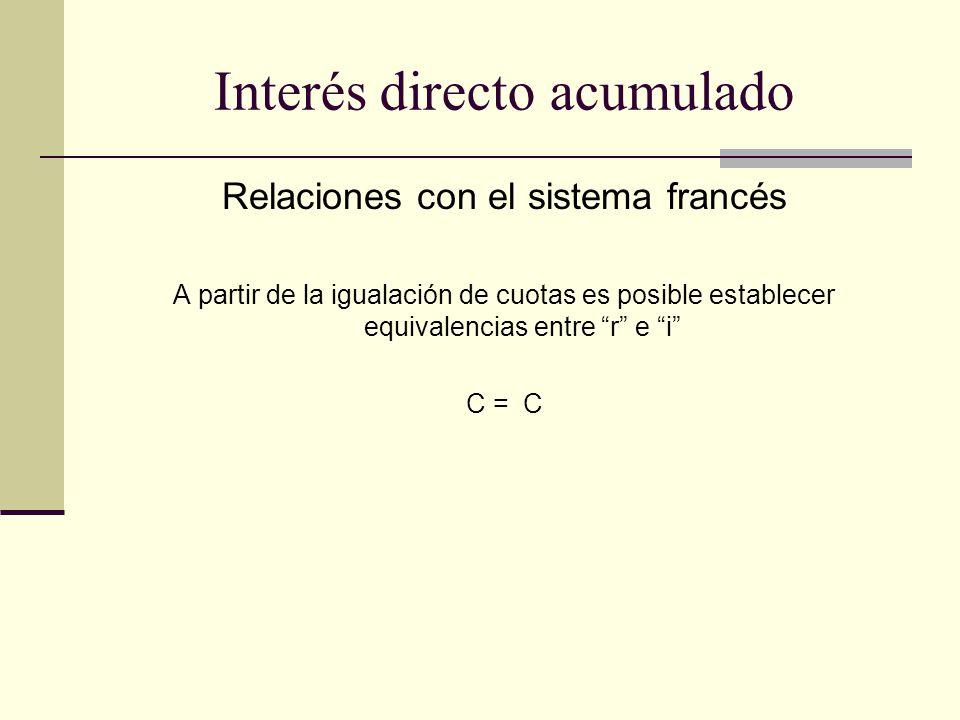 Relaciones con el sistema francés A partir de la igualación de cuotas es posible establecer equivalencias entre r e i C = C Interés directo acumulado