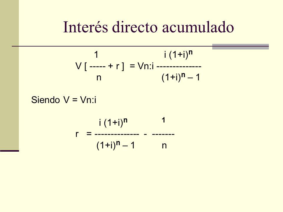 1 i (1+i) n V [ ----- + r ] = Vn:i -------------- n (1+i) n – 1 Siendo V = Vn:i i (1+i) n 1 r = -------------- - ------- (1+i) n – 1 n Interés directo