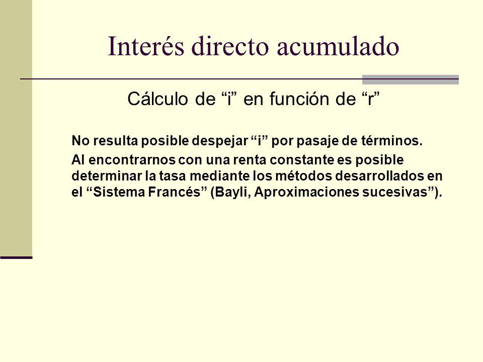 Cálculo de i en función de r No resulta posible despejar i por pasaje de términos. Al encontrarnos con una renta constante es posible determinar la ta