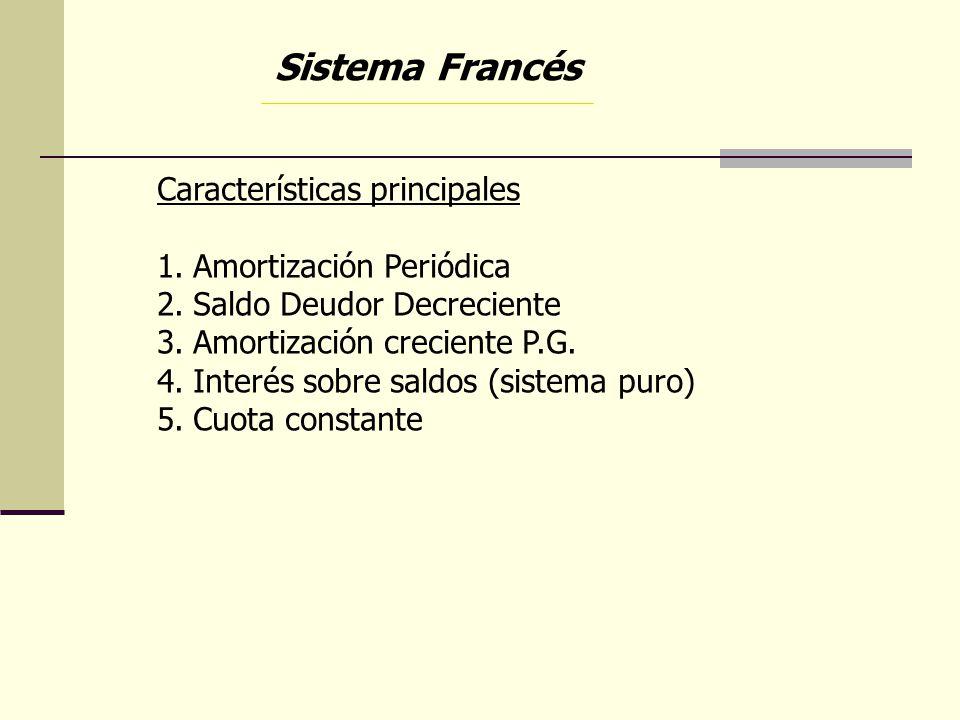 Sistema Francés Características principales 1.Amortización Periódica 2.Saldo Deudor Decreciente 3.Amortización creciente P.G. 4.Interés sobre saldos (