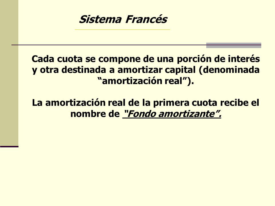 Cada cuota se compone de una porción de interés y otra destinada a amortizar capital (denominada amortización real). La amortización real de la primer