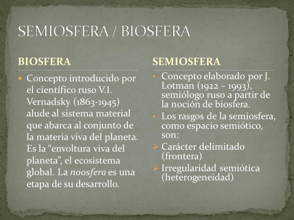 BIOSFERA Concepto introducido por el científico ruso V.I. Vernadsky (1863-1945) alude al sistema material que abarca al conjunto de la materia viva de