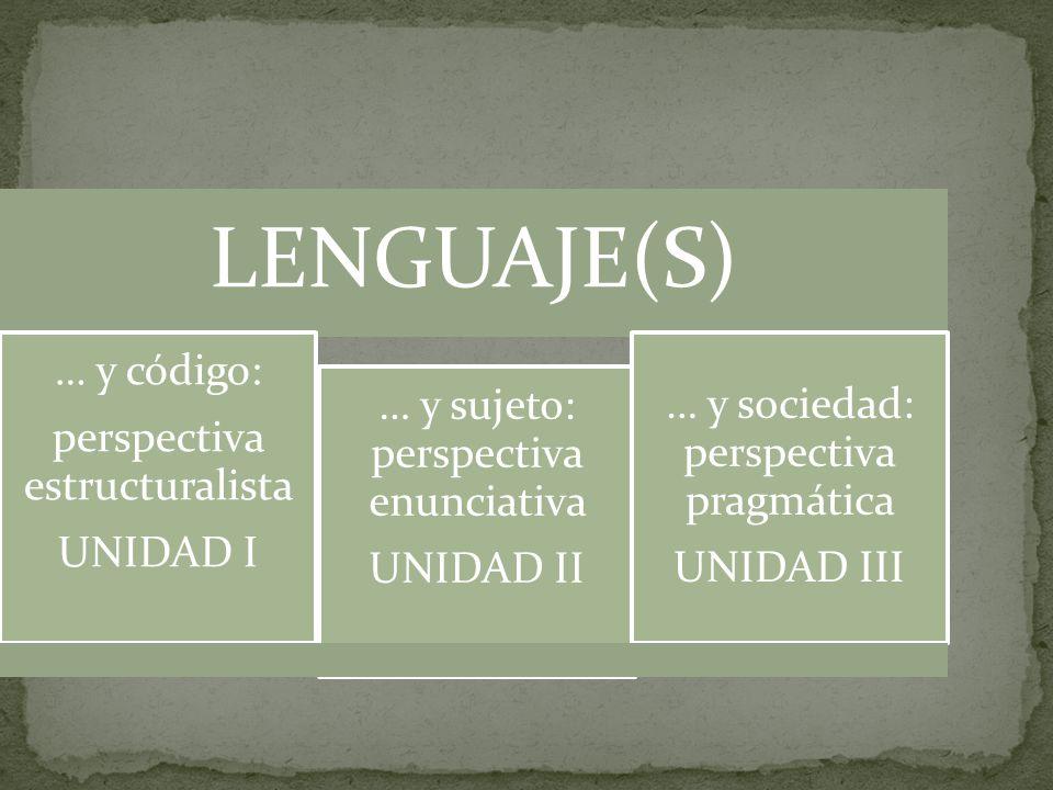 LENGUAJE(S) … y código: perspectiva estructuralista UNIDAD I … y sujeto: perspectiva enunciativa UNIDAD II … y sociedad: perspectiva pragmática UNIDAD