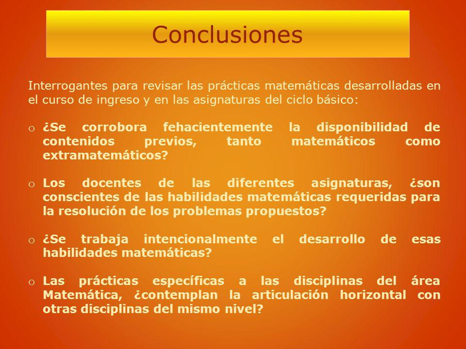 Conclusiones Interrogantes para revisar las prácticas matemáticas desarrolladas en el curso de ingreso y en las asignaturas del ciclo básico: o ¿Se co