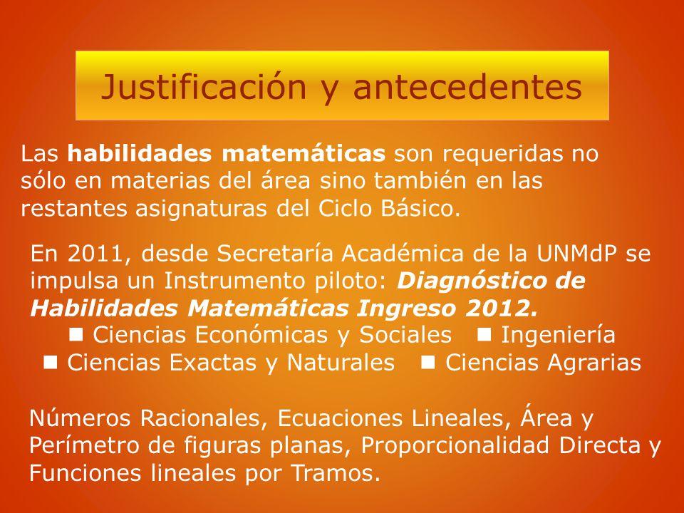 Justificación y antecedentes Las habilidades matemáticas son requeridas no sólo en materias del área sino también en las restantes asignaturas del Cic