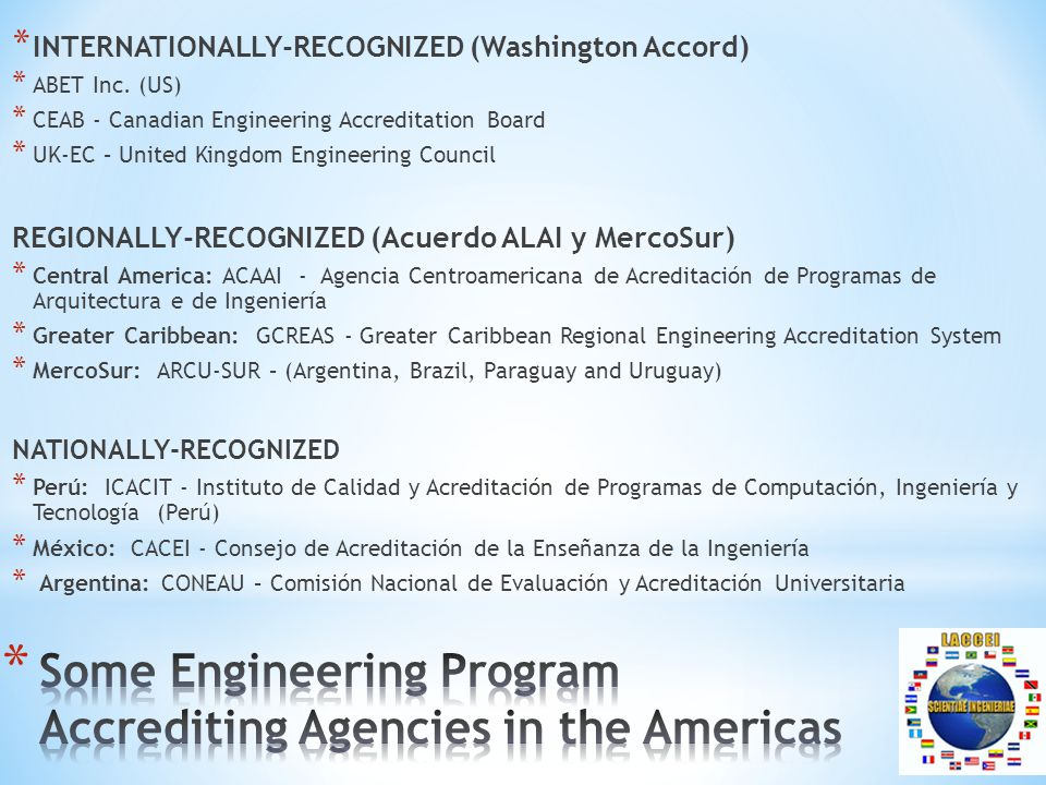 * INTERNATIONALLY-RECOGNIZED (Washington Accord) * ABET Inc.