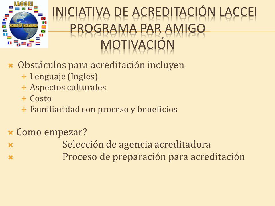 Obstáculos para acreditación incluyen Lenguaje (Ingles) Aspectos culturales Costo Familiaridad con proceso y beneficios Como empezar.