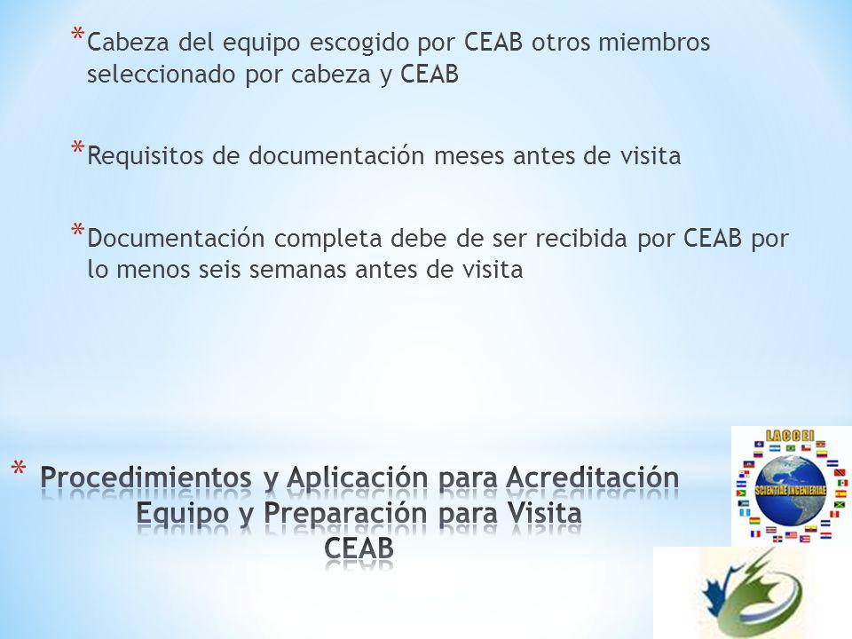 * Cabeza del equipo escogido por CEAB otros miembros seleccionado por cabeza y CEAB * Requisitos de documentación meses antes de visita * Documentación completa debe de ser recibida por CEAB por lo menos seis semanas antes de visita