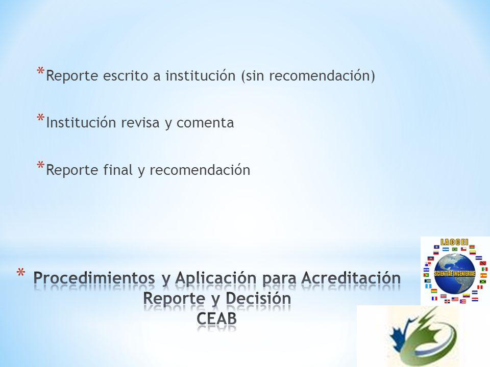 * Reporte escrito a institución (sin recomendación) * Institución revisa y comenta * Reporte final y recomendación