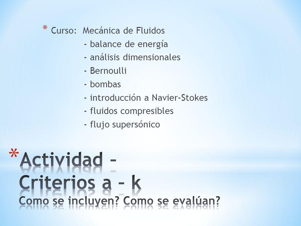 * Curso: Mecánica de Fluidos - balance de energía - análisis dimensionales - Bernoulli - bombas - introducción a Navier-Stokes - fluidos compresibles - flujo supersónico
