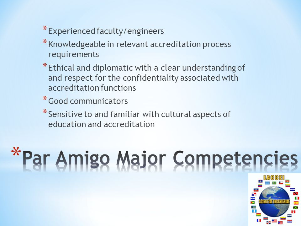 * Experienced faculty/engineers * Knowledgeable in relevant accreditation process requirements * Ethical and diplomatic with a clear understanding of and respect for the confidentiality associated with accreditation functions * Good communicators * Sensitive to and familiar with cultural aspects of education and accreditation
