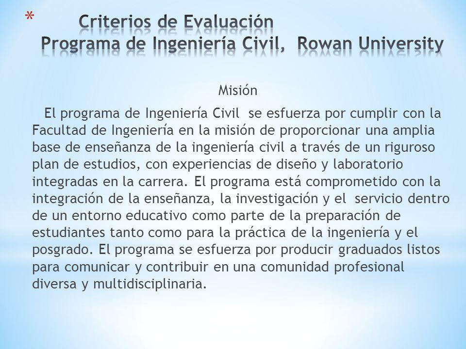 Misión El programa de Ingeniería Civil se esfuerza por cumplir con la Facultad de Ingeniería en la misión de proporcionar una amplia base de enseñanza de la ingeniería civil a través de un riguroso plan de estudios, con experiencias de diseño y laboratorio integradas en la carrera.