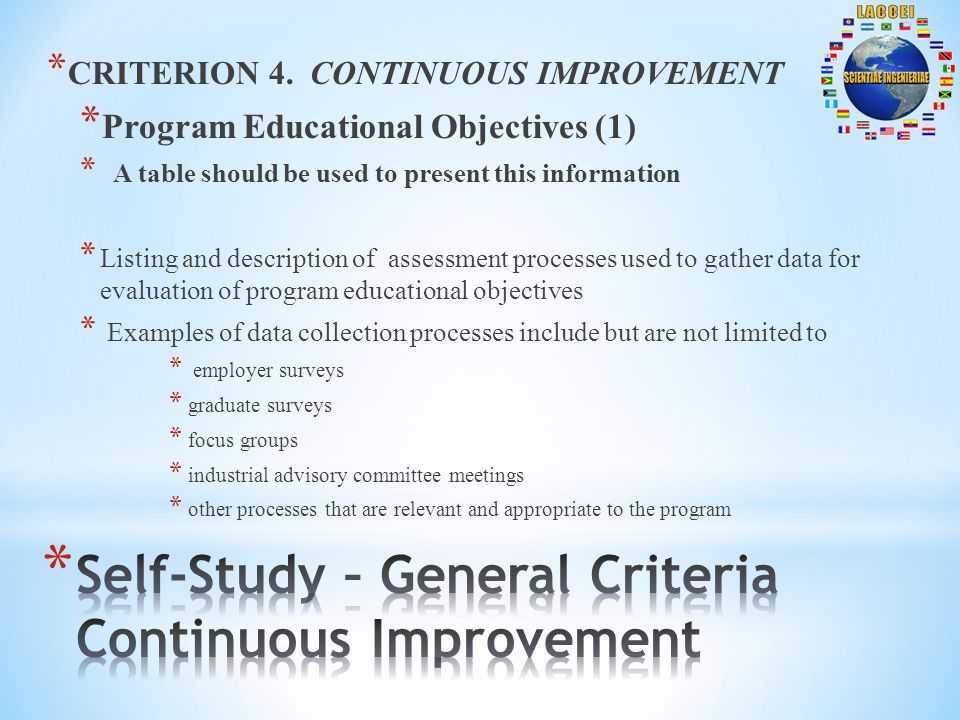 * CRITERION 4. CONTINUOUS IMPROVEMENT * Program Educational Objectives (1) * A table should be used to present this information * Listing and descript