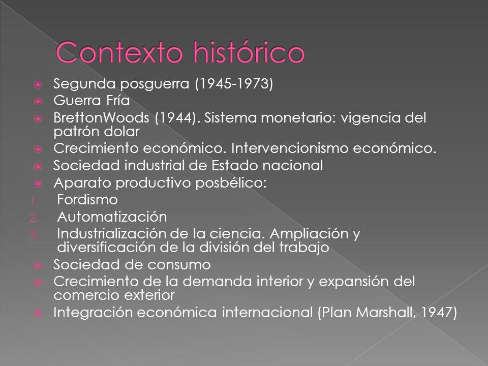 Segunda posguerra (1945-1973) Guerra Fría BrettonWoods (1944).