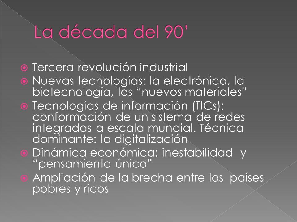 Tercera revolución industrial Nuevas tecnologías: la electrónica, la biotecnología, los nuevos materiales Tecnologías de información (TICs): conformación de un sistema de redes integradas a escala mundial.