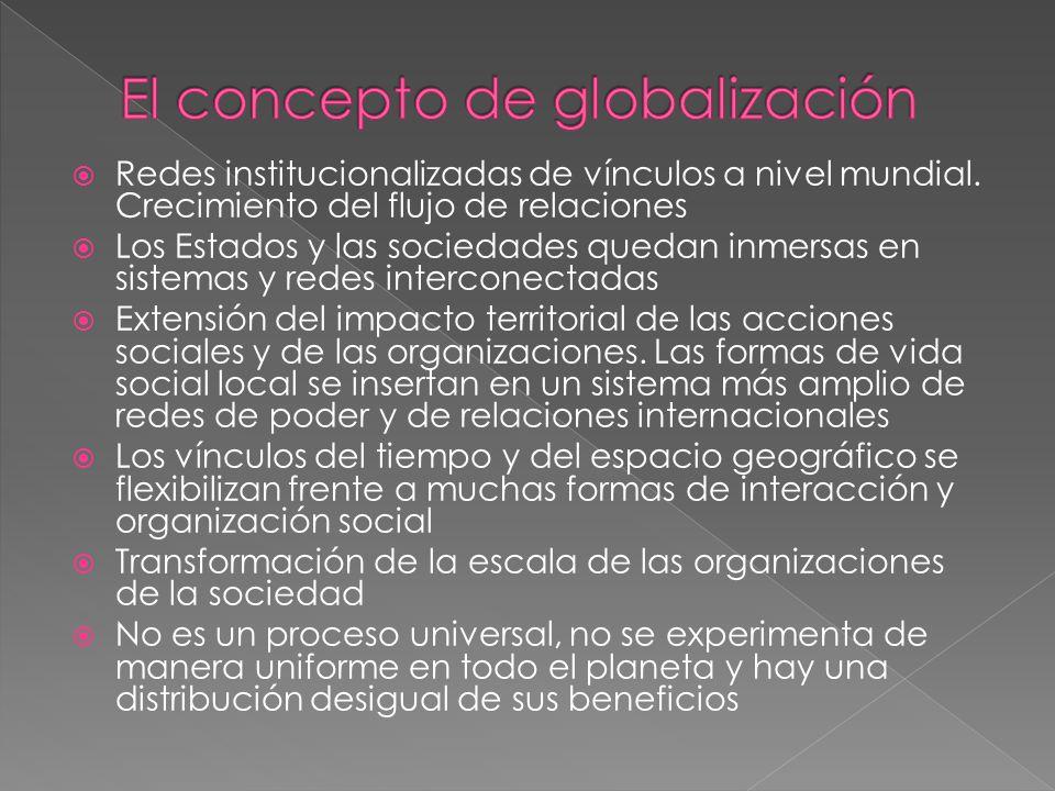 Redes institucionalizadas de vínculos a nivel mundial.