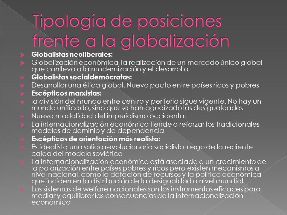 Globalistas neoliberales: Globalización económica, la realización de un mercado único global que conlleva a la modernización y el desarrollo Globalistas socialdemócratas: Desarrollar una ética global.