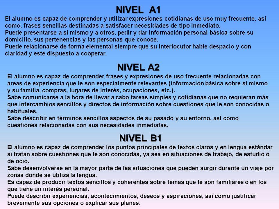 NIVEL A1 El alumno es capaz de comprender y utilizar expresiones cotidianas de uso muy frecuente, así como, frases sencillas destinadas a satisfacer n