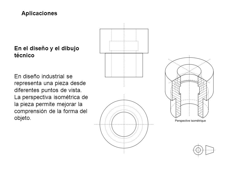 En el diseño y el dibujo técnico En diseño industrial se representa una pieza desde diferentes puntos de vista. La perspectiva isométrica de la pieza
