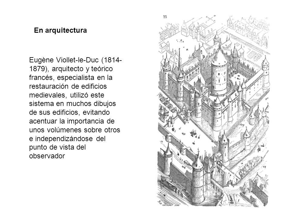 Eugène Viollet-le-Duc (1814- 1879), arquitecto y teórico francés, especialista en la restauración de edificios medievales, utilizó este sistema en muchos dibujos de sus edificios, evitando acentuar la importancia de unos volúmenes sobre otros e independizándose del punto de vista del observador En arquitectura