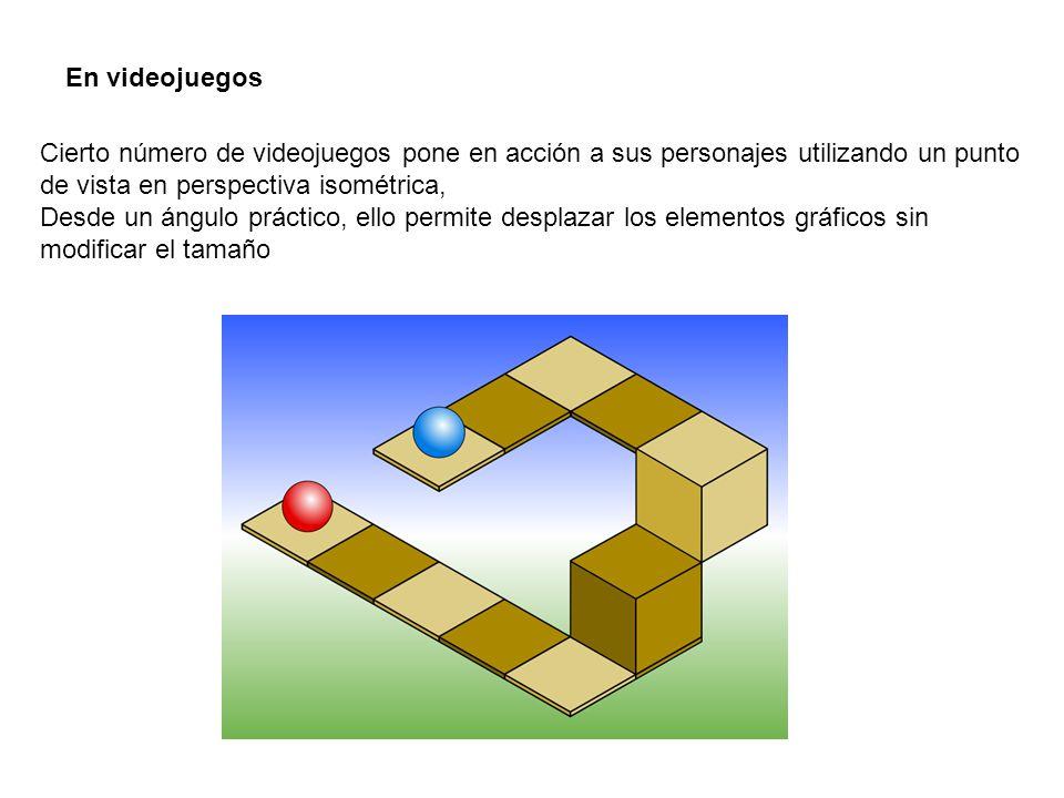 En videojuegos Cierto número de videojuegos pone en acción a sus personajes utilizando un punto de vista en perspectiva isométrica, Desde un ángulo práctico, ello permite desplazar los elementos gráficos sin modificar el tamaño