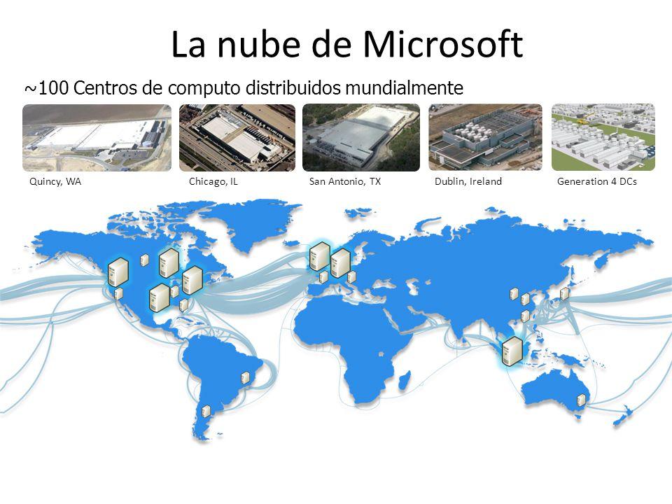 La nube de Microsoft ~100 Centros de computo distribuidos mundialmente Quincy, WAChicago, ILSan Antonio, TXDublin, IrelandGeneration 4 DCs