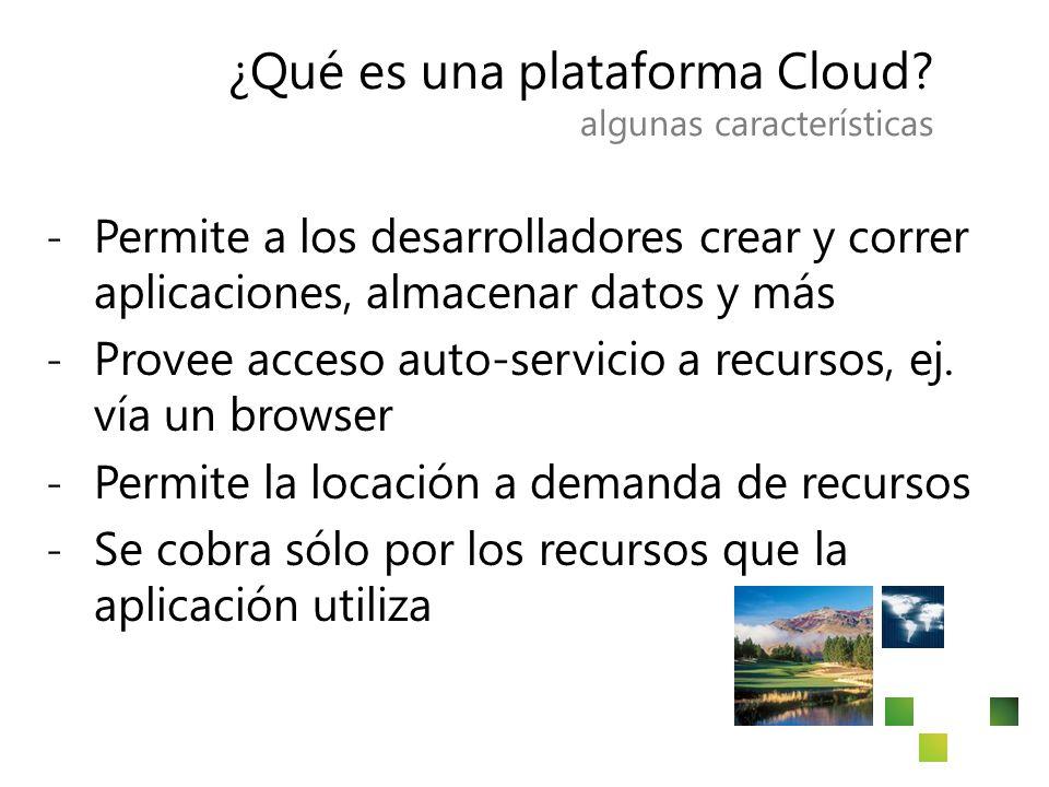 ¿Qué es una plataforma Cloud? algunas características ̵Permite a los desarrolladores crear y correr aplicaciones, almacenar datos y más ̵Provee acceso