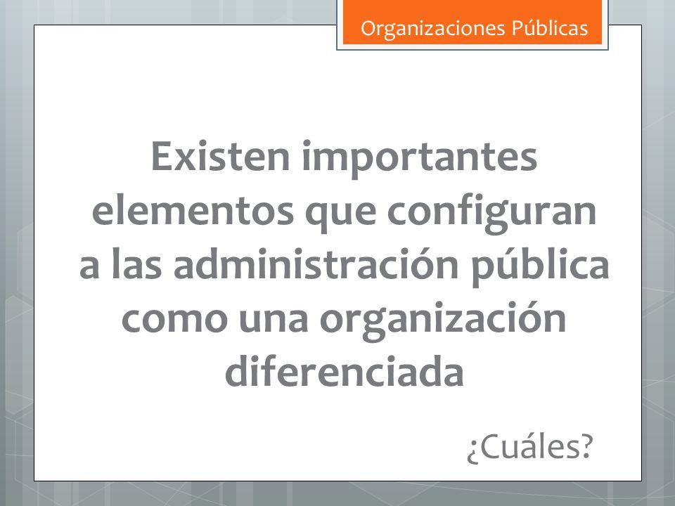 Existen importantes elementos que configuran a las administración pública como una organización diferenciada ¿Cuáles? Organizaciones Públicas
