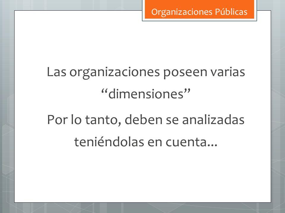 Las organizaciones poseen varias dimensiones Por lo tanto, deben se analizadas teniéndolas en cuenta... Organizaciones Públicas