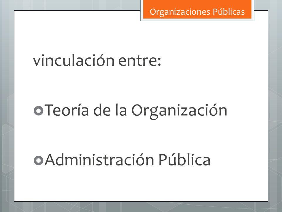 vinculación entre: Teoría de la Organización Administración Pública Organizaciones Públicas